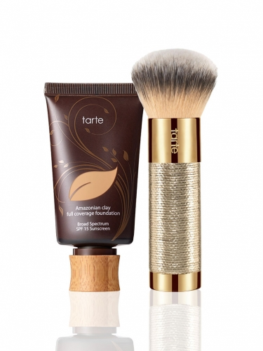 Amazonian clay 12-hour full coverage foundation SPF 15 with brush -