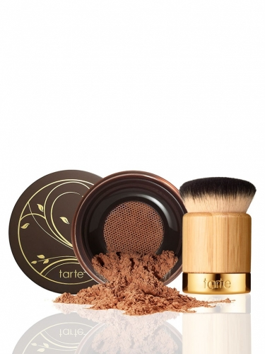 Amazonian clay full coverage airbrush foundation with brush in rich honey -